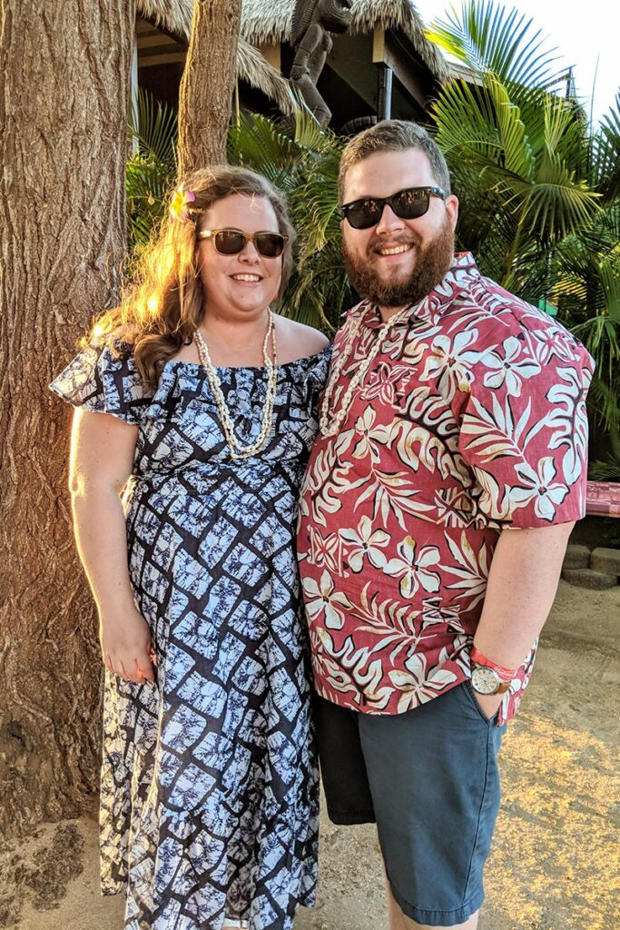 Hannah and Brandon at a Hawaiian luau