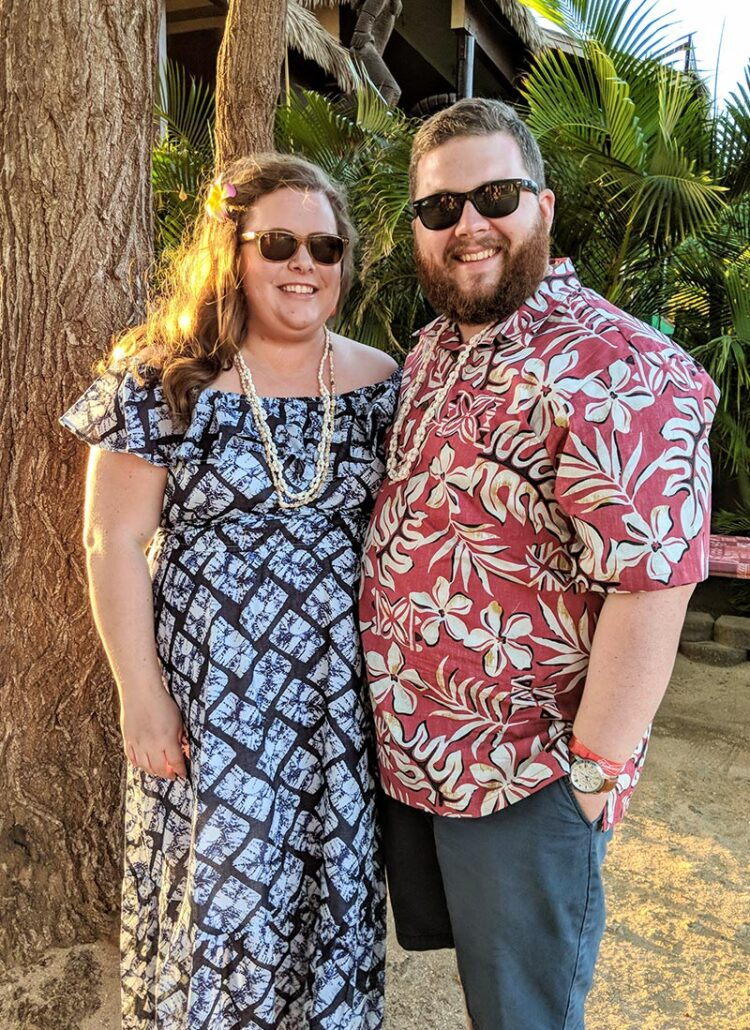 Hannah and Brandon at a Hawaiian luau