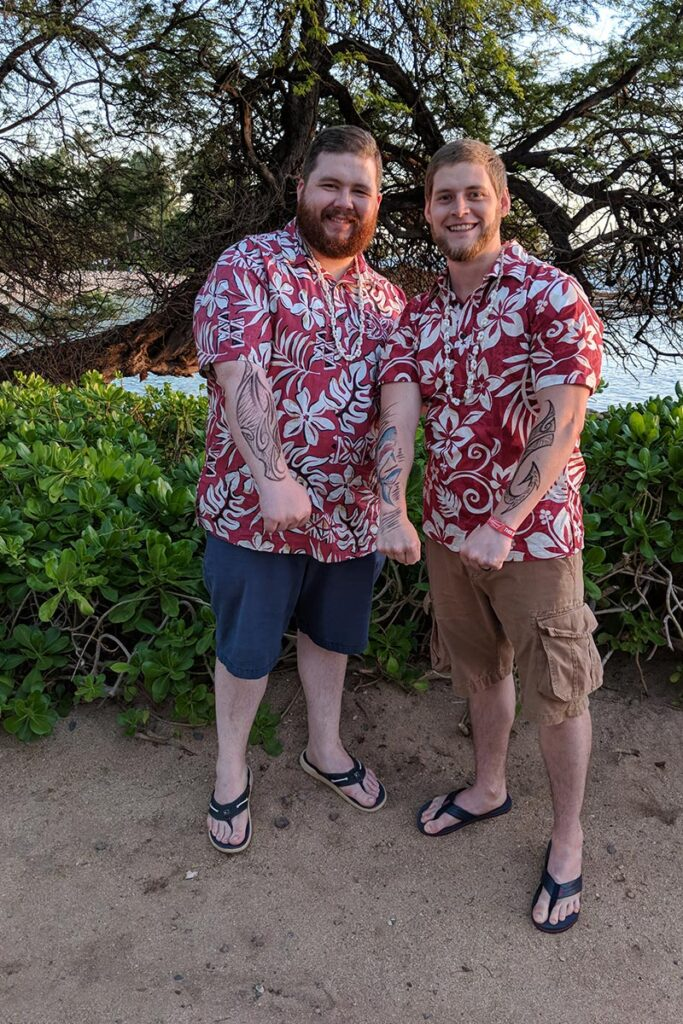 Brandon and Josh at Hawaiian luau