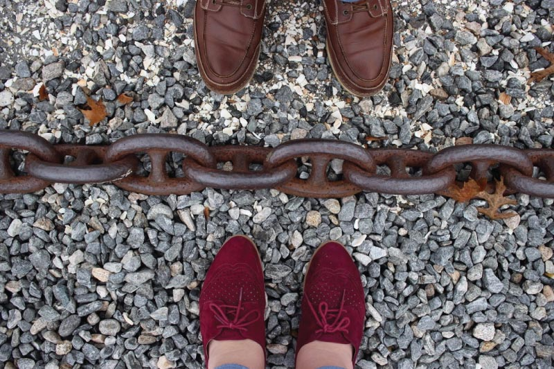 shoes and a thick chain