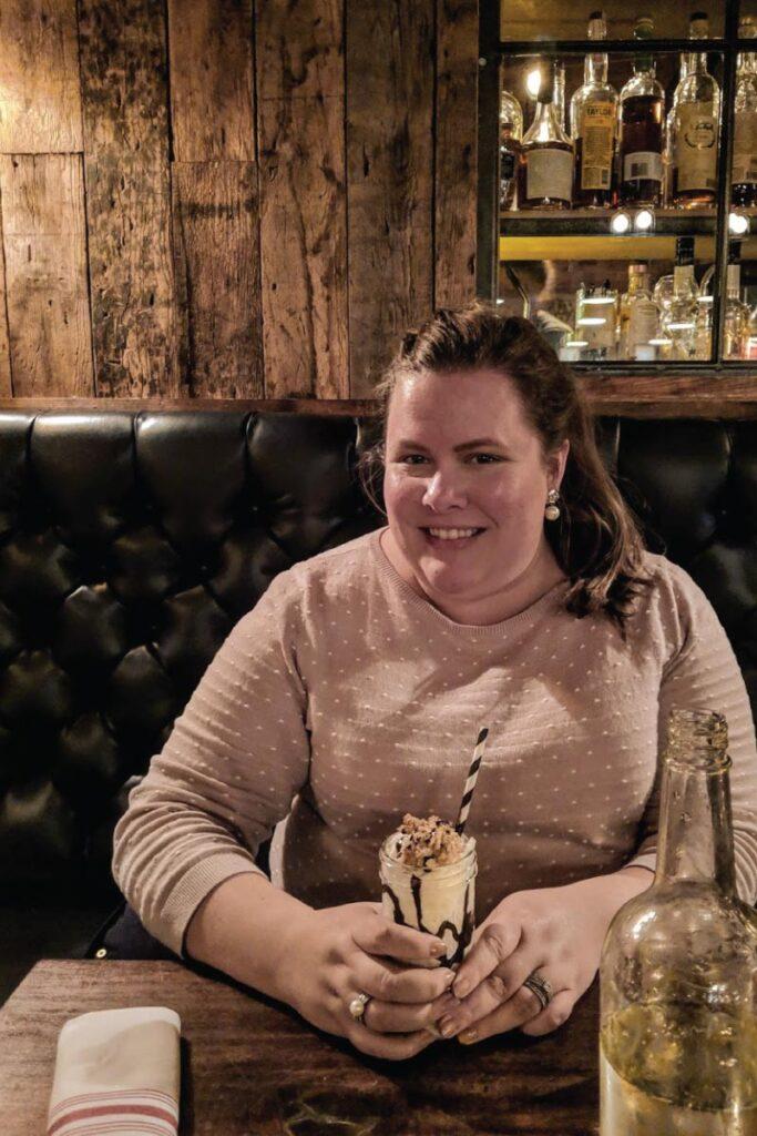 Hannah with milkshake