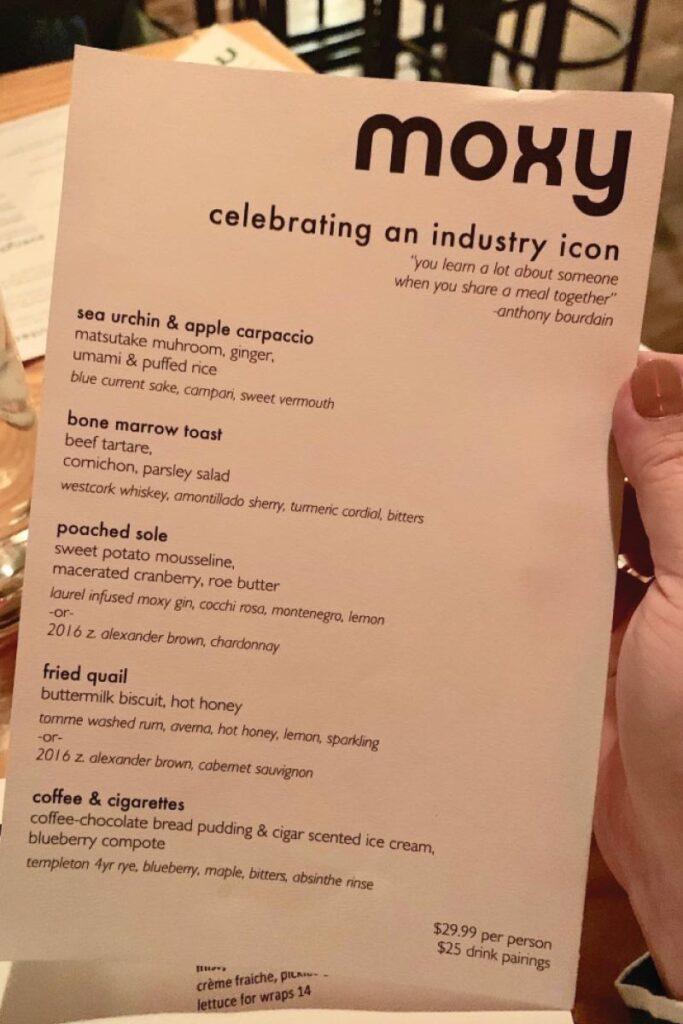 Moxy restaurant menu