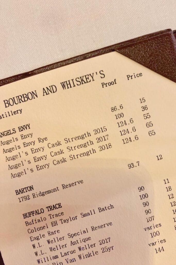 Bourbon menu at The Brown Hotel