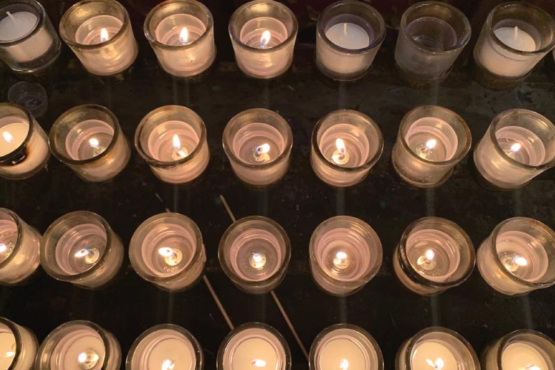 Lighting a candle at the Washington National Cathedral