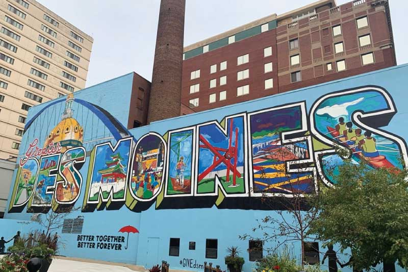 mural in downtown Des Moines, Iowa