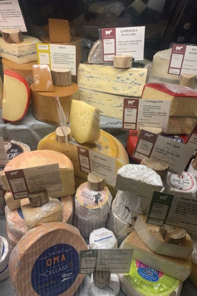 cheese case at Fromagination in Madison, Wisconsin